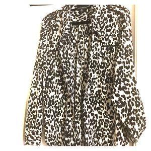 Animal print sheer blouse